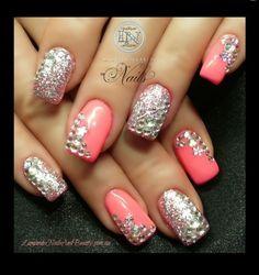 See more about pink nails, nail arts and silver nails. Get Nails, Fancy Nails, Bling Nails, Love Nails, Pretty Nails, Bling Bling, Rhinestone Nails, Sparkle Nails, Dream Nails