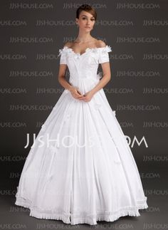 Ball-Gown Off-the-Shoulder Floor-Length Satin Wedding Dresses With Lace Beadwork Flower(s) (002015489)