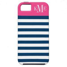 Bold Stripe & Monogram   Apple iPhone 5 Case Cover
