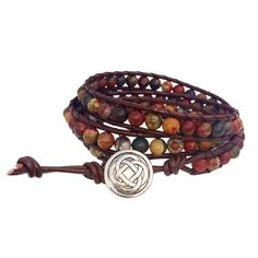 Celtic Knot Bracelet Leather Piccasso Jasper Beaded Wrap (Silver Plated Button)