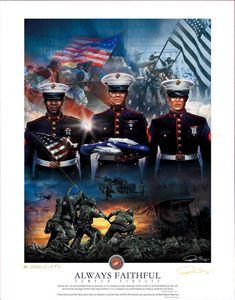 US Marine Corp Semper Fidelis Tribute Commemorative Art Print Poster