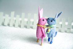 Mini Spring Bunny  miniature pastel felt rabbit by von RoyalMint, $28,00