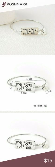 "Suicide Prevention/Awareness Bangle ""My story isn't over yet"" suicide prevention/awareness bangle bracelet in silver. Brand new in packaging. Hypoallergenic. Jewelry Bracelets"