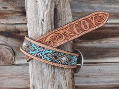 Leather Tool Belt, Custom Leather Belts, Leather Hats, Leather Necklace, Leather Tooling, Leather Craft, Beaded Hat Bands, Beaded Belts, Beaded Bracelets