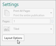 Layout Options in Publisher printer settings.