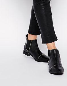 ASOS ALLIE Zip Detail Chelsea Boots