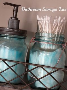 Blue painted mason jars and how to bronze your cheap pump and lid