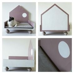 Cuccia di design in legno per gatti e cani di labottegadigiorgix Cat Furniture, Animal Design, Shih Tzu, Small Dogs, Yorkshire, Chihuahua, Blush Pink, Toddler Bed, Kids Rugs