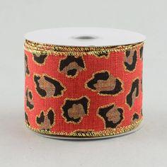 "2.5"" Red Leopard Print Ribbon (10 Yards)"