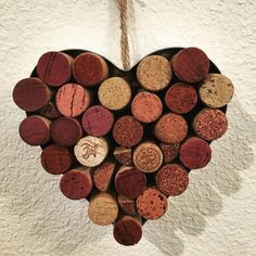 Rustic Wine Cork Heart in Aluminum Frame by CrystalWoodsDesigns on Etsy https://www.etsy.com/listing/573762587/rustic-wine-cork-heart-in-aluminum-frame