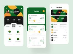 Parcel 📦 Dashboard, Tracker, Settings designed by Vladimir Gruev for Heartbeat Agency. Connect with them on Dribbble; App Ui Design, Mobile App Design, Page Design, Dashboard Design, Flat Design, Design Design, Graphic Design, Apps, Design Responsive