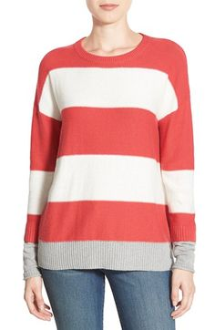 Caslon® Contrast Cuff Crewneck Sweater (Regular & Petite) available at #Nordstrom---in pink with gray sleeve stripe