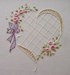 Wonderful Ribbon Embroidery Flowers by Hand Ideas. Enchanting Ribbon Embroidery Flowers by Hand Ideas. Embroidery Hearts, Types Of Embroidery, Hand Embroidery Stitches, Silk Ribbon Embroidery, Hand Embroidery Designs, Vintage Embroidery, Embroidery Techniques, Cross Stitch Embroidery, Machine Embroidery