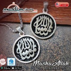 Small Sterling Silver Enameled Arabic MashaAllah Pendant for Necklace Arabic Jewelry, Muslim Fashion, Silver Enamel, Islamic, Personalized Items, Sterling Silver, Pendant, Hang Tags, Pendants
