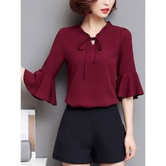 Tie Collar Plain Bell Sleeve Blouse (89 PEN) ❤ liked on Polyvore featuring tops, blouses, purple top, flared sleeve top, collar top, bell sleeve tops and flared sleeve blouse
