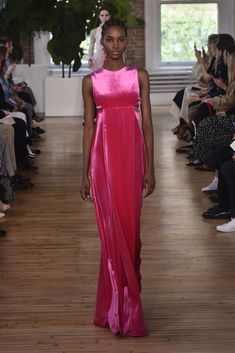 Resort 2018 #fashion review: Valentino's unexpected study in hip-hop   bright pink gown   The Luxe Lookbook