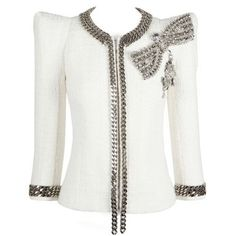 "Another Balmain jacket with their stong sculpted shoulders. Actually reminds me of the ""classic Chanel"" jacket with their chain detail on the cuffs and collar."