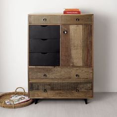 Love this combination of rustic and modern!  (Atwood Tall Chest in Dressers & Chests | Crate and Barrel)