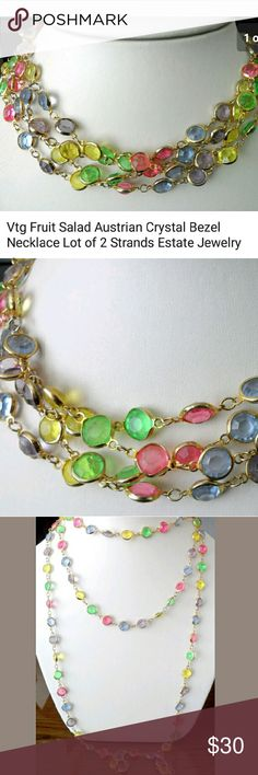 "2 Vtg Fruit Salad Austrian Crystal Necklace Strand Vintage 30"" Fruit Salad Austrian Crystal Bezel Set Goldtone Necklace.... Lot of 2 Long Strands-  Estate Jewelry in EXCELLENT VINTAGE CONDITION... 1 STRAND IS MISSING A STONE, NOT NOTICEABLE UNLESS YOU'RE LOOKING, BUT HAVE TO MENTION....ENJOY! Vintage Jewelry Necklaces"