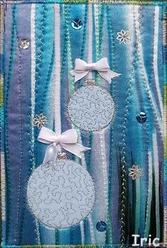 quilted fabric postcard | Fabric