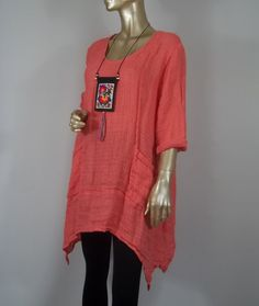 Long tunic,linen,coral,hankie hem,plus size,Lagenlook,lagenlook,top,dress,maternity,layered look,shabby chic,XS-3XL.Free ship.in USA.