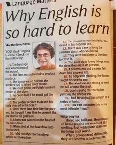 This is why English is so hard to learn - no accents of emphasis on how to pronounce words and what the words mean differently when the emphasis changes! English Vocabulary Words, Learn English Words, English Grammar, Math Vocabulary, English Tips, English Study, English Lessons, English Memes, Business Management
