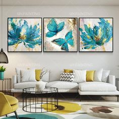 Conjunto de 3 arte de pared floral floral mariposa arte azul | Etsy