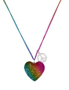 Rainbow Heart Necklace | Necklaces | Jewelry | Shop Justice cute with the heart but not with the peace sign