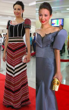6 SONA fashion statements that got our attention (plus, check what they wore last year) Philippines Outfit, Philippines People, Modern Filipiniana Gown, Unique Prom Dresses, Bridesmaid Dresses, Formal Dresses, Filipino Fashion, Batik Fashion, Batik Dress