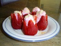 Strawberry Cheesecake filled Strawberries.   www.BakingInATornado.com