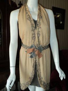 "Antique Upcycled 1920s handmade Backless Flapper Dress Tunic Distressed Rhinestone ""Bellasoiree Original"""