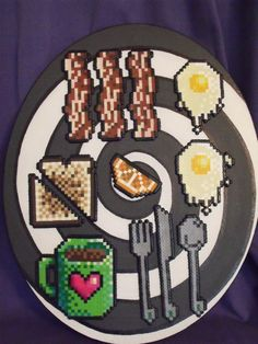 Breakfast perler fuse bead art by Pixellism