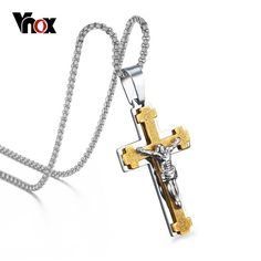 Vnox Men's Jesus Cross Necklace Pendant 316l Stainless Steel Metal With Chain 24inch. Item Type: NecklacesFine or Fashion: FashionChain Type: Link ChainNecklace Type: Pendant NecklacesStyle: TrendyCompatibility: All CompatiblePendant Size: 62*38mmMetals Type: Stainless SteelGender: MenModel Number: PN-115Material: MetalBrand Name: VNOXShape\pattern: CrossFunction: decoration