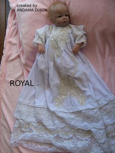 The Royal is a hand finished one of a kind Christening Dress created by Andama Dujon Christening Dresses, Baby Dolls, Flower Girl Dresses, Parties, Wedding Dresses, Fashion, Christening Gowns, Fiestas, Bride Dresses