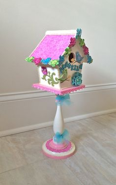 Items similar to Nursery decor, decorative birdhouse, personalized baby gift, centerpiece on Etsy Wooden Bird Houses, Decorative Bird Houses, Bird Houses Painted, Shabby Chic Birdhouse, Birdhouse Craft, Diy Wall Painting, Bird Party, Bird Boxes, Fairy Garden Houses