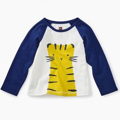 This kitti-rific raglan tee has cuteness coming and going plus an easy silhouette for moving baby bodies. Original screen print graphic on front and back Contrast long sleeves cotton jersey Machine wash Imported FINAL SALE ONLY Baby Girl Shirts, Baby Girl Tops, Shirts For Girls, Toddler Boy Outfits, Kids Outfits, Toddler Boys, Fashion 101, Autumn Fashion, Baby Body