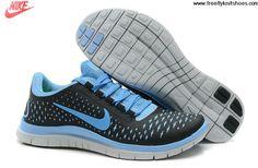 Wholesale Discount Womens Nike Free 3.0 V4 Black University Blue Pure Platinum Running Shoes Fashion Shoes Shop
