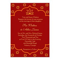 Marigold Finery Red Thread Ceremony Invitation Cards E Card