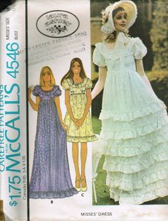 McCall's 4546 Misses Georgian Style Empire Waist Dress pattern in two lengths womens vintage sewing pattern by mbchills Wedding Dress Patterns, Vintage Dress Patterns, Clothing Patterns, Vintage Outfits, Vintage Dresses, 60s And 70s Fashion, Vintage Fashion, Curvy Fashion, Fall Fashion