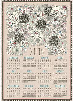 Floral Linen Calendar Towel
