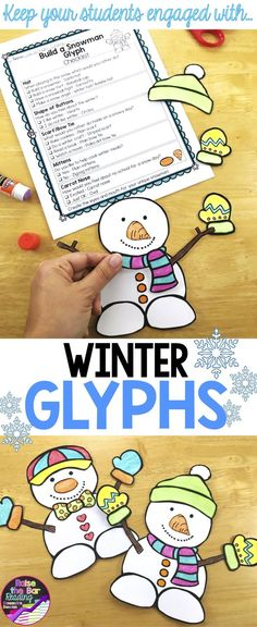 These winter crafts are sure to keep your students engaged! Three winter themed glyphs are included. Winter Art Projects, Winter Crafts For Kids, Winter Fun, Winter Theme, Projects For Kids, Winter Holidays, Winter Activities, Christmas Activities, Enrichment Activities