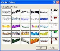 Ou nas letrinhas super descoladas do WordArt.