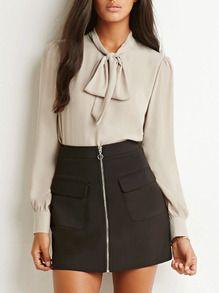 Blusa manga larga con lazo -albaricoque