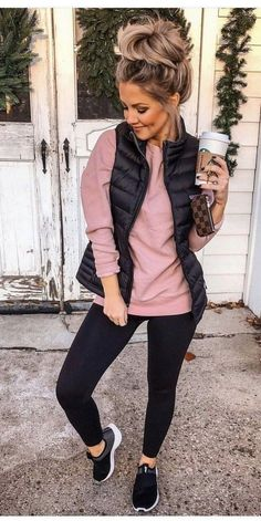 casual comfy outfits, comfy legging outfits, casual outfits for winter, Casual Fall Outfits, Winter Fashion Outfits, Fall Winter Outfits, Look Fashion, Autumn Winter Fashion, Vest Outfits For Women, Womens Fashion, Mom Fall Fashion, Ladies Fashion
