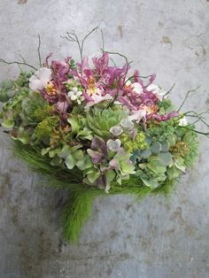 textured bridal bouquet with orchids, Françoise Weeks
