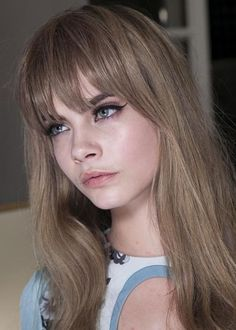Top 100 Long Hairstyles 2014 for Women | herinterest.com; Cara Delevingne ash-blonde with bangs