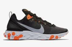 new arrival 06598 b65db First Look  Nike React Element 55 Black Orange