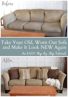 Take That Old, Worn Out Sofa  Make It Look New Again (An EASY step-by-step tutorial) .