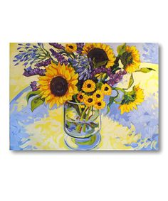 Global Gallery 'Sunflower Garden I' by Hong Original Painting on Wrapped Canvas Sunflower Canvas, Sunflower Crafts, Sunflower Garden, Watercolor Sunflower, Canvas Wall Art, Canvas Prints, Artist Canvas, Metal Wall Art, Decoration