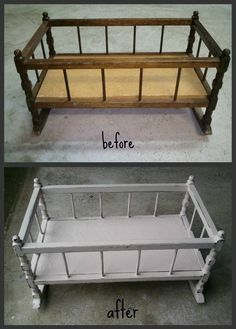 Vintage doll's cradle. I think I'm going to re-do my family cradle for Zoey's dolls.